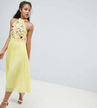 Frock And Frill Tall Embroidered Top Pleated Midi Dress