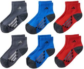 adidas Boys 6-Pack ClimaLite Quarter-Cut Socks