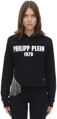 Philipp Plein LOGO CRYSTAL FRINGE JERSEY CROP HOODIE