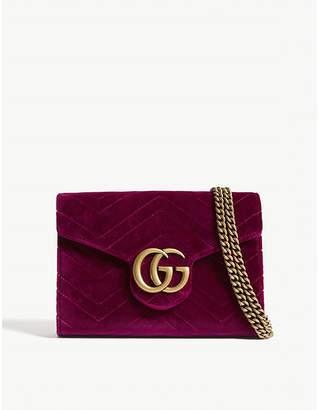 Gucci Ladies Fuschia Pink Marmont Gg Velvet Billfold-On-Chain