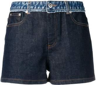 A.P.C. mid rise panelled denim shorts