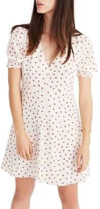 Madewell Clover Strawberries Button Front Silk Dress