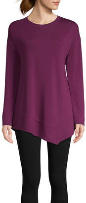 ST. JOHN'S BAY SJB ACTIVE Active Long Sleeve Asymmetrical Top