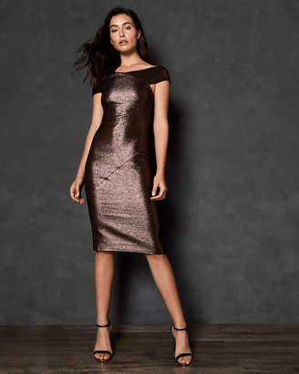 Ted Baker MAGGZ Midi metallic bodycon dress