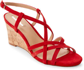 Tahari Coral Red Future Strappy Wedge Sandals