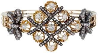 14K Yellow Gold and Silver Old Mine & Rose Diamond Vintage Bangle Bracelet