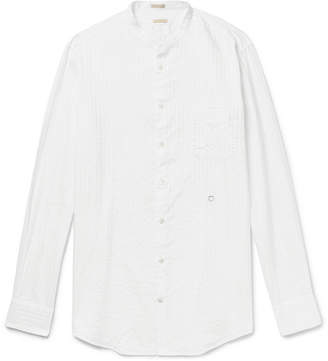 Massimo Alba Grandad-Collar Striped Washed-Cotton Shirt