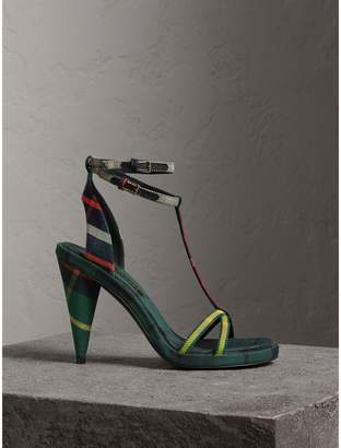 Burberry Tartan Cotton High Cone-heel Sandals