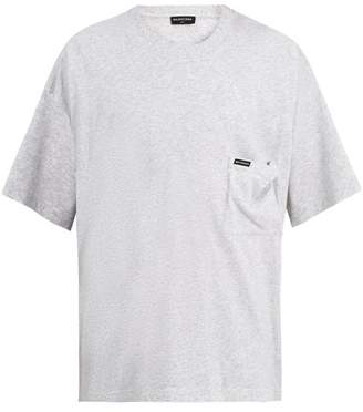Balenciaga Oversized Logo Print Cotton Jersey T Shirt - Mens - Grey
