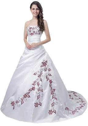Edaier Women's Strapless Embroidery Vintage Wedding Dress Bride Gown Size 30 White Red