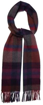 Paul Smith Checked Cashmere Scarf - Mens - Purple