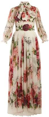 Dolce & Gabbana Peony And Rose Print Chiffon Gown - Womens - White Multi