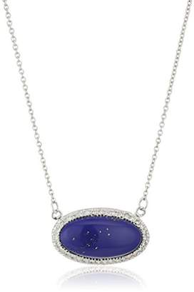 Lapis Silver-Tone Simulated and Cubic Zirconia Oval Pendant Necklace