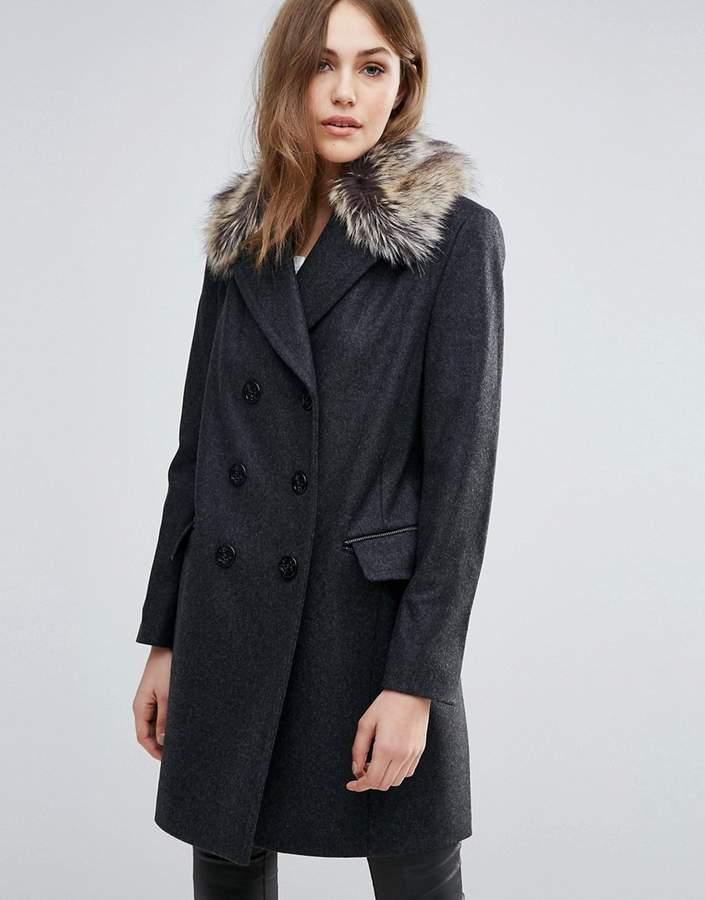 – Platform – Mantel aus Wollmischung mit Kunstpelzkragen