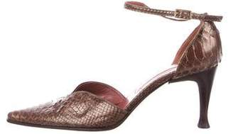 Sergio Rossi Snakeskin Pointed-Toe Pumps