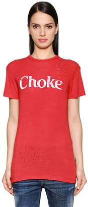 DSQUARED2 Choke Printed Wool Jersey T-Shirt