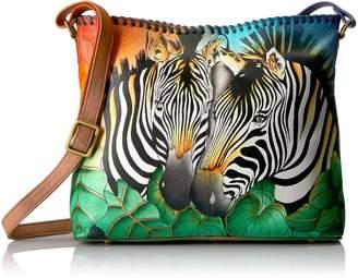 Anuschka Anna By Handpainted Leather Women's Bag Cross Body, zbs-zebra safari