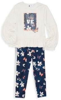 Petit Lem Little Girl's & Girl's Two-Piece Butterfly Floral Tee and Leggings Set