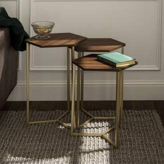 Manor Park Modern Wood Nesting Tables, Set of 3 - Dark Walnut/ Gold