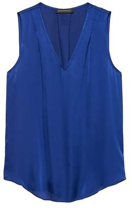 Banana Republic Petite Soft Satin Pleated Drapey Tank