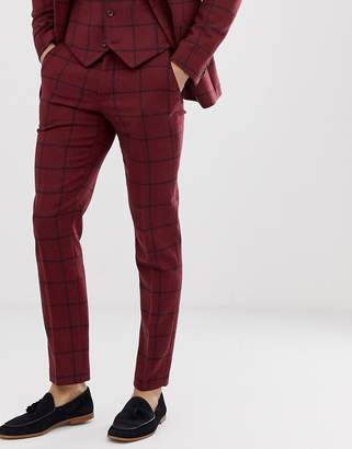 Asos DESIGN skinny suit pants in burgundy wool mix check