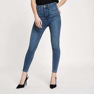River Island Petite mid blue Harper high rise skinny jeans