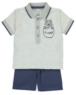 Disney George Winnie the Pooh Polo Top and Shorts Outfit