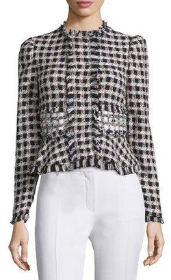 Rebecca Taylor Plaid Tweed Jacket, Black/Cream $550 thestylecure.com