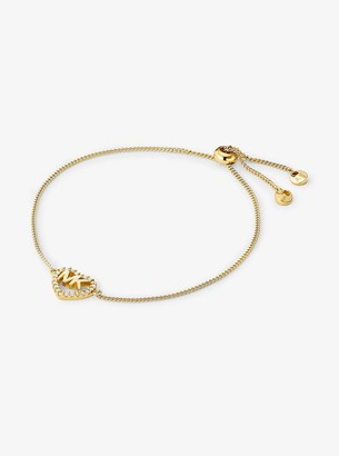 Michael Kors Precious Metal-Plated Sterling Silver Logo Heart Slider Bracelet