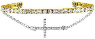 SPARKLE ALLURE Sparkle Allure Duo Cuff White Cubic Zirconia 14K Gold Over Brass 6 Inch Cable Cross Cuff Bracelet