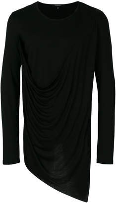Unconditional asymmetric draped T-shirt
