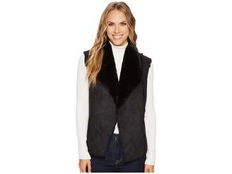 Tribal Faux Fur Vest w/ Shawl Collar Back Women's Vest