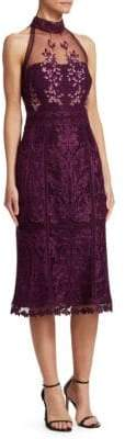 David Meister Lace Halterneck Sheath Dress