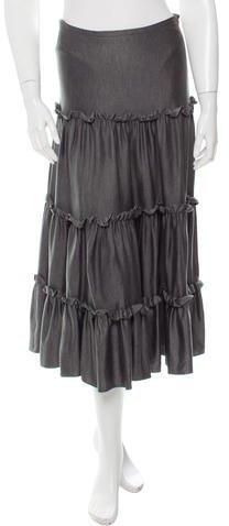 Michael Kors Ruffled Silk Midi Skirt