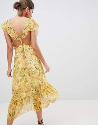 PrettyLittleThing Floral Tie Back Midi Dress
