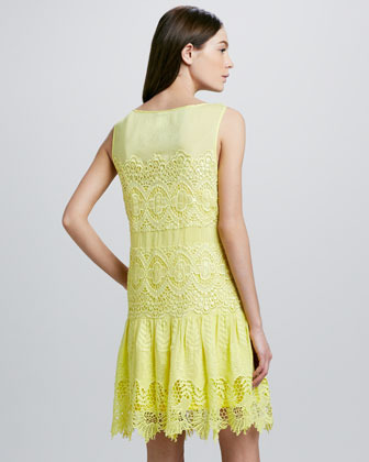 Ali Ro Floral-Hem Mixed Lace Dress