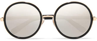 Jimmy Choo Andie Round-frame Glittered Acetate Mirrored Sunglasses - Black