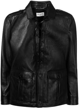 Saint Laurent Safari Dress lace-front jacket