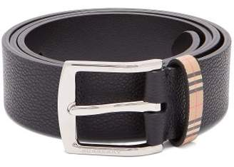 Burberry Garin Grained Leather Belt - Mens - Black