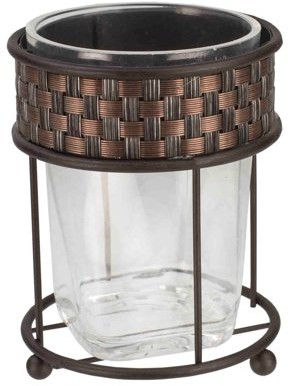 Home Basics Weave Pattern Metal & Acrylic Bathroom Tumbler