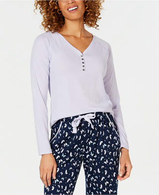 Charter Club Ribbed-Knit Henley Pajama Top