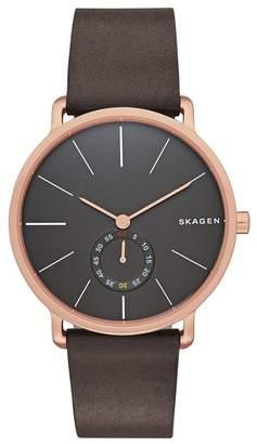 Skagen Men's Hagen Leather Strap Watch, 40mm