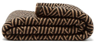 Saved Ny - Twill Basket Weave Jacquard Cashmere Blanket - Brown Print