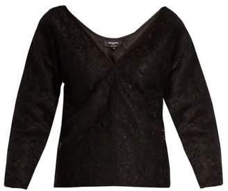 Rochas Off The Shoulder Floral Lace Top - Womens - Black