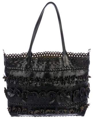 Valentino Leather Floral-Embellished Tote