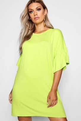 boohoo Plus Jersey Flared Sleeve T-Shirt Dress