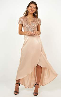 Showpo Ill Be There Dress in Champagne Satin - 6 (XS) Sale Dresses