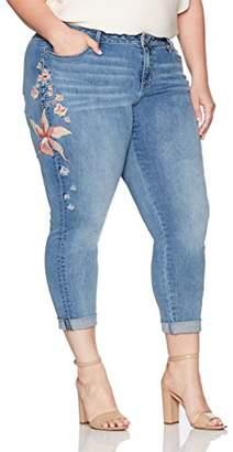 Denim Crush Women's Floral Embroidered Girlfriend Jean Plus Size
