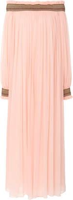 Carolina Herrera Off-the-Shoulder Pleated Silk Dress