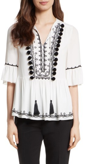 Women's Kate Spade New York Pom Embroidered Top